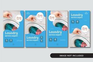 moderne Wäscherei Social Media Geschichten Vorlage Set vektor