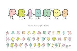 tecknad emoticons teckensnitt med rolig vänlig karaktär
