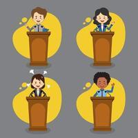 uppsättning av affärsmän talar på podiet