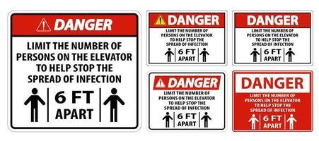 physisches Distanzierungszeichen des Gefahrenaufzugs isolieren auf weißem Hintergrund