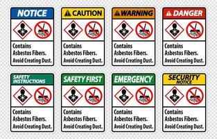 Etikett enthält Asbestfasern