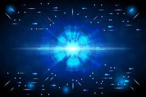 abstrakter blau leuchtender runder Technologiehintergrund