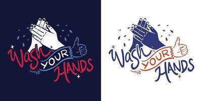 Waschen Sie Ihre Hände Schriftzug Set vektor