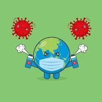 niedliche Erdcharaktere kämpfen gegen Viren