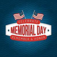 minnesdag fyrkantig affischdesign med amerikanska flaggor vektor