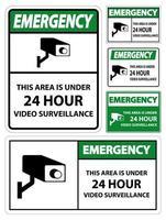 Notfall dieser Bereich ist unter 24 Stunden Videoüberwachungsschild vektor