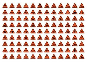 dreieckige Warngefahrsymbole beschriften Zeichensatz