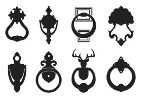 Gratis Vector Black Silhouettes Of Door Knocker