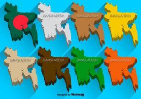 Vektor 3D ikoner uppsättning av Bangladesh karta