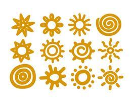 Vektor handgezeichnete Sonnen