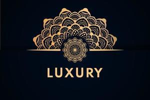 luxuriöses goldenes halbes Mandala und Randdesign vektor
