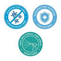 blaues und grünes Coronavirus-freies Symbol gesetzt vektor