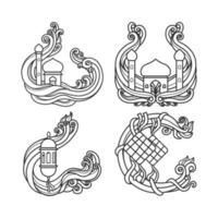 skissera muslimska traditionella semesterdesigner vektor