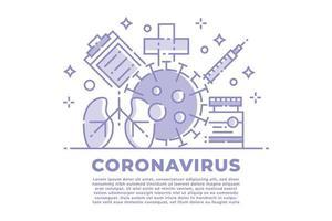 lineare Darstellung des lila und weißen Coronavirus vektor