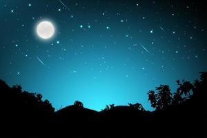 Nachtlandschaft mit Silhouetten von Bergen und Himmel vektor