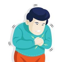 Cartoon-Stil Mann mit Brustschmerzen