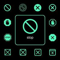 verschiedene Stoppschild- und Symbolsätze vektor