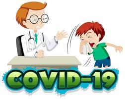 Covid-19-Poster mit Arzt und Hustenjunge vektor