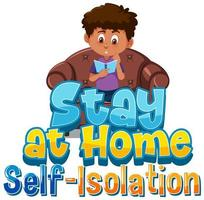 stanna hemma text och pojke läser i stol vektor