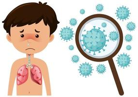 kranker Junge vom Coronavirus mit vergrößerten Zellen vektor