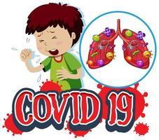 Covid-19-Zeichen mit Hustenjunge und infizierten Lungen vektor