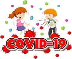 Plakat mit zwei kranken Kindern und Covid-19-Text vektor