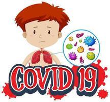 covid-19 Text mit Jungen und schlechten Lungen vektor