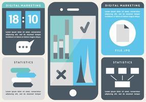 Free Flat Digital Marketing Vektor Hintergrund mit Touch Screen Smart Phone