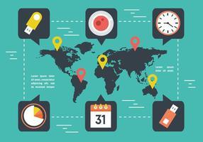 Gratis världskarta med marknadsföringselement vektor