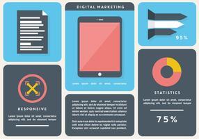 Gratis Flat Digital Marketing Vector Bakgrund med Touch Screen Tablet