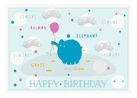 Gratis grattis på födelsedagen vektor bakgrund med gullig elefant
