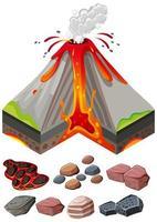 verschiedene Arten von Felsen und Vulkanausbrüchen vektor