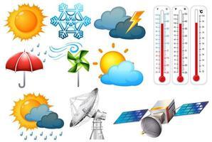 Satz von Wetter- und Klimaelementen auf Weiß vektor