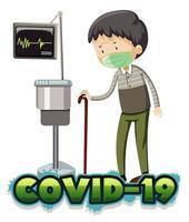 sjuk gammal man med covid-19 på sjukhus vektor