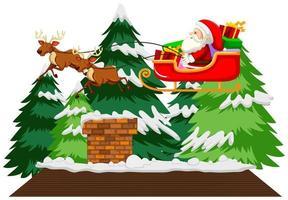 Santa reitet auf Schlitten über Dach