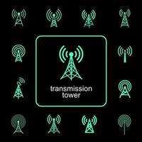 Übertragungskommunikationsturm Symbolsatz vektor