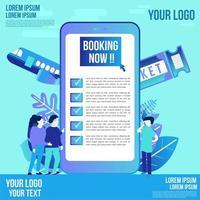 Design für mobile Reisebuchungen mit flachen Charakteren