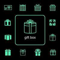 Geschenksymbole für Ereignisse eingestellt vektor