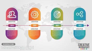 Infografik Timeline Gradient Kapsel Design mit 4 Schritten