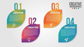 infographic tidslinjegradientbladdesign med fyra steg vektor
