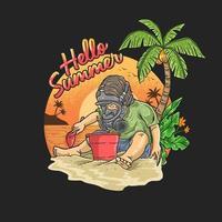 Junge, der Gasmaske trägt, die auf Stranddesign spielt vektor