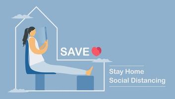 Arbeiten von zu Hause aus soziale Distanzierung Design vektor