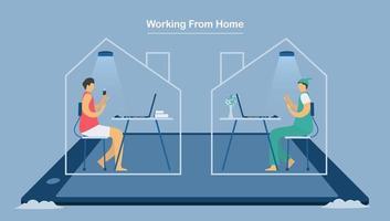 zwei Mitarbeiter, die von zu Hause aus arbeiten, um das neue Coronavirus zu schützen vektor