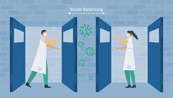 soziale Distanzierung von Arzt und Krankenschwester vektor