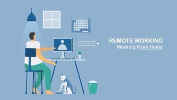 Remote-Arbeiten oder Arbeiten von zu Hause aus zum Schutz des neuen Coronavirus vektor