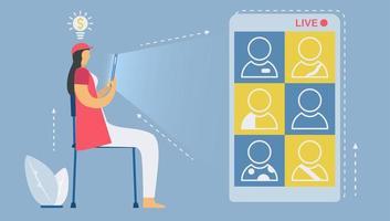 Live-Video-Telefonkonferenzen auf dem Smartphone vektor