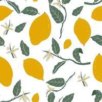 buntes nahtloses Muster der gezeichneten Zitronenhand vektor