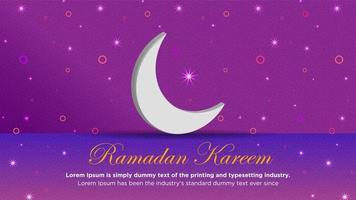måne och blinkande lampor på lila för ramadan