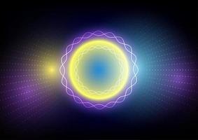 abstrakte bunte Lichtkreisphantasieentwurf vektor