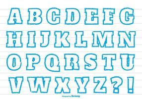 Blaue Kreide Stil Alphabet gesetzt